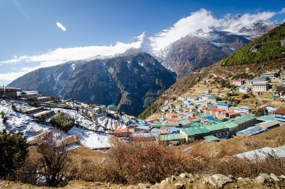Namche Bazaar nestled below