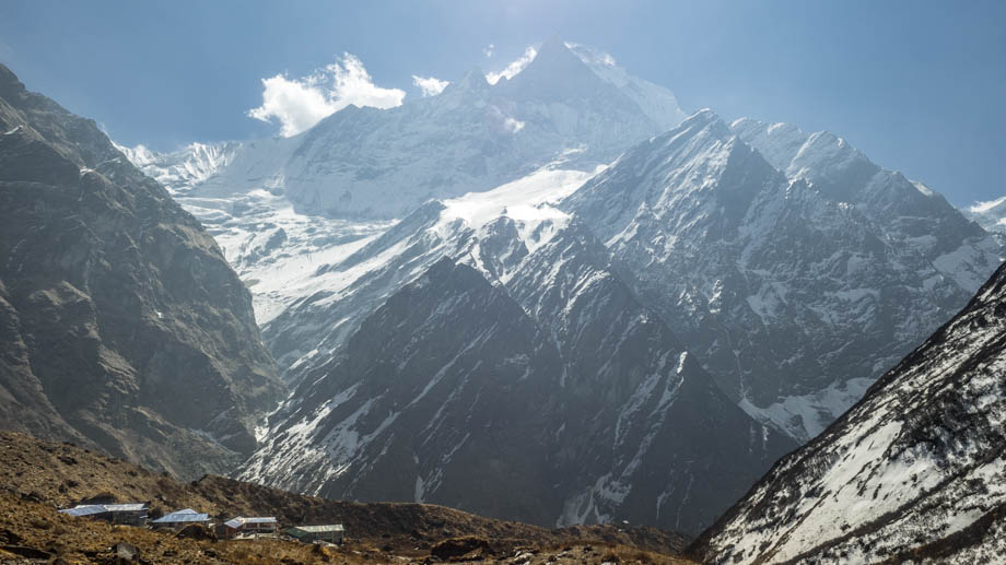 Looking back towards Machapuchare