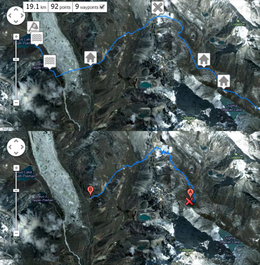 Everest Base Camp Plotted Route