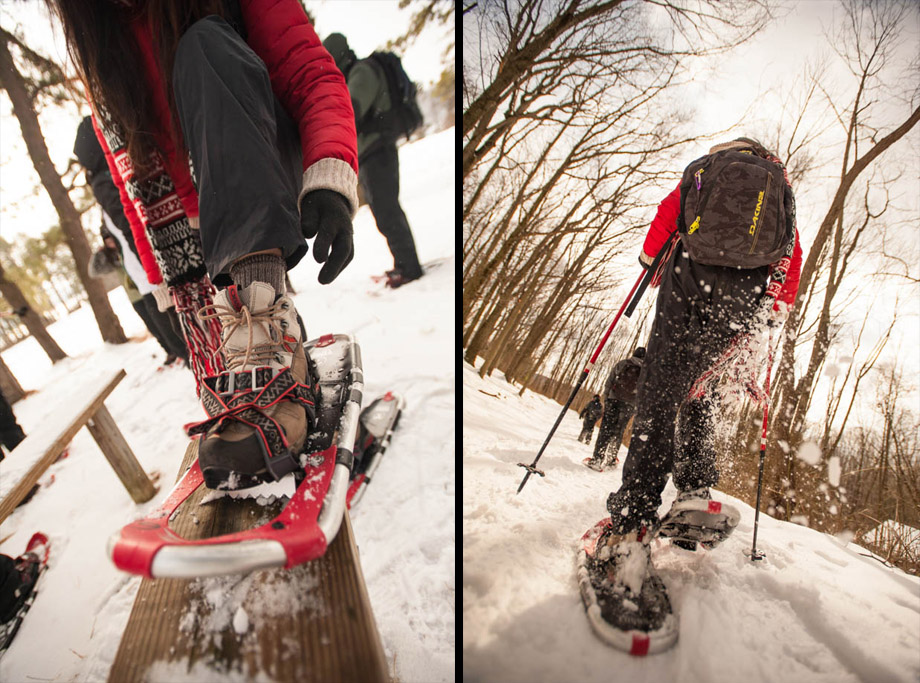 putting on the snowshoe