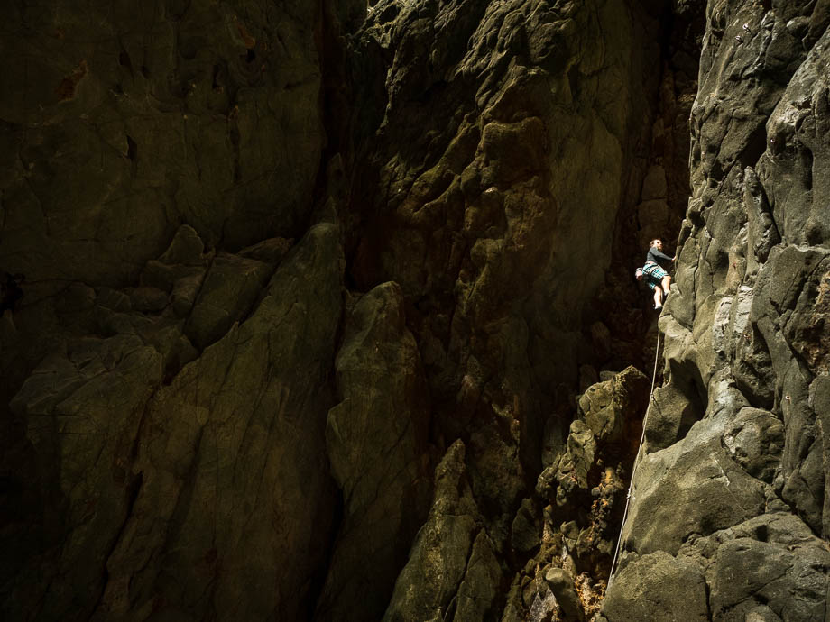 Climbing the Anxiety State Crisis Cave at the Crazy Horse Buttress